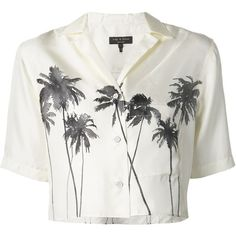 Rag & Bone palm tree print cropped shirt ($225) found on Polyvore featuring women's fashion, tops, shirts, crop tops, blusas, white, white shirt, white top, silk top and crop shirts