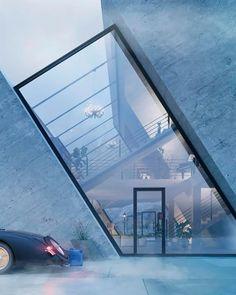 유명 브랜드 로고 모양으로 디자인된 주택 : 네이버 블로그 Houses Architecture, Conceptual Architecture, Minimalist Architecture, Futuristic Architecture, Interior Architecture, Futuristic Houses, Drawing Architecture, Sustainable Architecture, Architecture Building Design