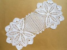 Handmade crochet doily color - white 100 % cotton size - ( 22 x 10 ) (56cm . x 25 cm . )