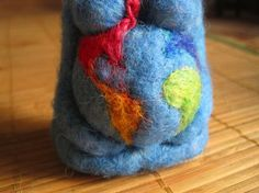 Needle Felted Gaia Mother Earth Felted Earth Mama RAINBOW