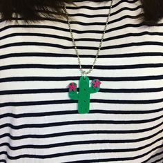Stripes & cactus necklace