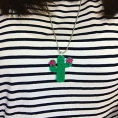 Stripes & cactus necklace
