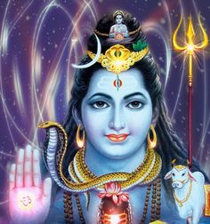 Vishnu wears the divine blue color , and he has four arms . He keeps a Padma ( lotus flower ) in the lower left hand , and a unique weapon , known as Gada , which can be used in combat , in the bottom right hand . In the upper left hand he holds a Panchajanya Shankha ( conch ) , and in the upper right hand he holds a discus ( sudarshana - chakra ).