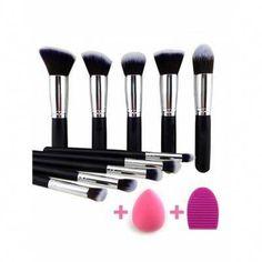 bfa7ed7db6e 10 Pcs Makeup Brushes Set + Makeup Sponge + Brush Egg -  7.56 Free Shipping