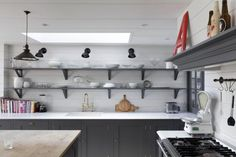 Ship lap walls for kitchen AG London Kitchen: Remodelista Kitchen Shelves, Kitchen Decor, Kitchen Cabinets, Open Shelves, Gray Cabinets, Kitchen Walls, Kitchen Colors, Cupboards, Kitchen Storage