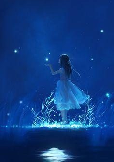 Fireflies moonlight and child.