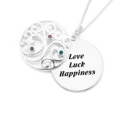 Silver Scroll Love & Happiness Pendant