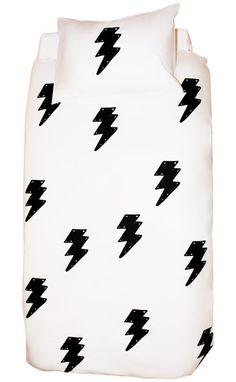 Tea Pea - Henry & Co Lightning Bolt Duvet Set - Charcoal Boy Girl Room, Pet Style, Kids Sleep, Lightning Bolt, Kids Bedroom, Kids Rooms, Bedroom Ideas, Cotton Bag, Duvet Sets