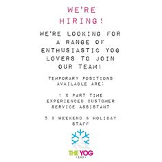 Yes you read it right.... We hiring!!!  We're looking for some fun enthusiastic strong willed FroYo lovers to join our team for the Summer with the chance to have your contract extended!  We have available:  1 X part-time role for someone who is 18 years or over with a full UK driving licence and who has experience in Customer Service or a Supervisory role.  5 X weekend/holiday staff who are 16 years of age or older and committed to working flexible hours and who will be available throughout…