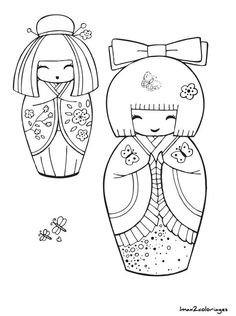 """iColor """"Kokeshi Dolls"""" etc. Matryoshka Doll, Kokeshi Dolls, Embroidery Patterns, Hand Embroidery, Peyote Patterns, Embroidery Stitches, Colouring Pages, Coloring Books, Asian Quilts"""