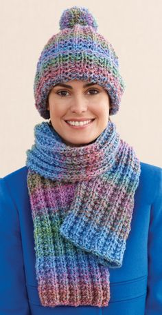 Rustic Ribbed Hat and Scarf-free easy knitting pattern.  So pretty!  I love the colors.
