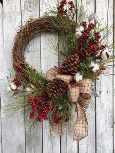 Couronne de Noël Country, couronnes de Noël, couronne de Noël Country, couronne de Noël sapin artificiel pour porte