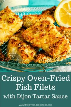 Crispy Oven-Fried Fish Filets with Dijon Tartar Sauce – Seafood - Fish Recipes Cod Fish Recipes, Baked Cod Recipes, Walleye Fish Recipes, Fried Fish Recipes, Baked Whiting Fish Recipes, Seafood Recipes, Air Fryer Fish Recipes, Flounder Recipes, Tilapia Recipes