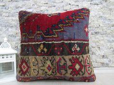 bohemian pillow natural pillow throw pillow 16x16 handmade carpet pillow 16x16 floor cushion decorative carpet pillow sofa pillow