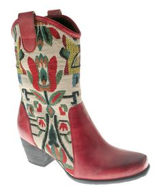 Loving this Red Grazia Leather Cowboy Boot on #zulily! #zulilyfinds
