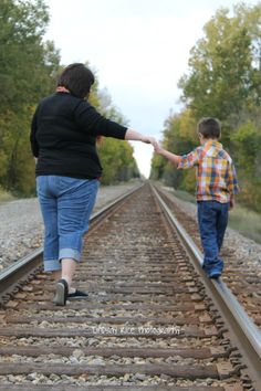 Mother and son photography #Railroad tracks photos