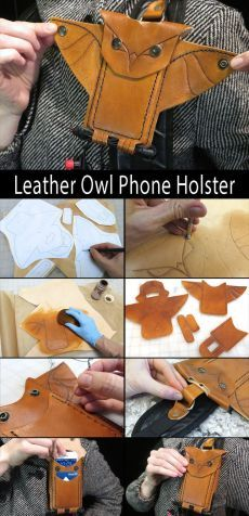 Owl Phone Holster Have your phone at the ready with this handy owl phone holster that attaches to your bag.Have your phone at the ready with this handy owl phone holster that attaches to your bag. Leather Art, Sewing Leather, Leather Pattern, Leather Design, Leather Tooling, Leather Jewelry, Leather Purses, Leather Wallet, Leather Totes