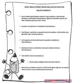 Okul Öncesi Öğretmeninin Okul Açılmadan Önce Yapacakları Listesi Family Schedule, Kindergarten, Preschool, How To Plan, Education, Math, Kids, Young Children, Boys