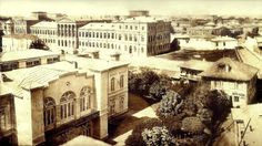 Carol Popp de Szathmary - Royal Academy of Saint Sava (University of Bucharest) in 1864 - the great building from the left. In the left foreground we see Sutu palace, now the museum of history of Bucharest. Restaurant, Time Travel, Old Photos, Paris Skyline, The Past, Mansions, Black And White, House Styles, Building