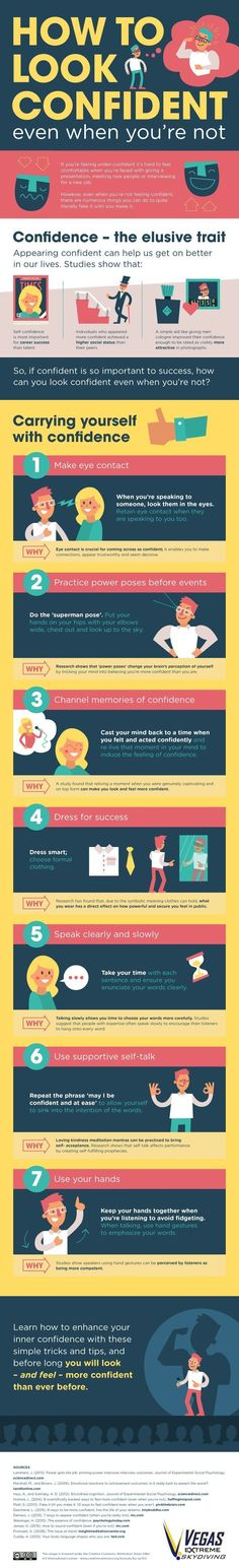 How to Appear Confident, Even When You're Not [Infographic] - little tricks and tips to coax out that confidence! And if you can fake it, you can definitely become it. (life tips and tricks) Inbound Marketing, Internet Marketing, Internet Advertising, Marketing Branding, Internet Radio, Marketing Plan, Affiliate Marketing, Media Marketing, Self Development