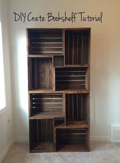 DIY Wooden Crate Bookshelf - a great way to upcycle these crates. Bedroom Storage, Diy Storage, Storage Ideas, Diy Bedroom, Crate Storage, Storage Baskets, Storage Shelves, Bedroom Ideas, Organization Ideas