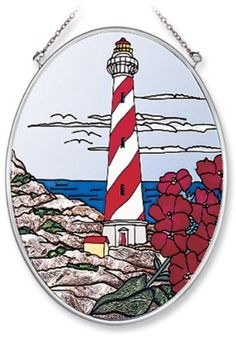 Amia Hand Painted Glass Suncatcher with The Cape Lighthouse Design, 5-1/4-Inch by 7-Inch Oval by Amia. $19.00. Includes chain. Comes boxed, makes for a great gift. Handpainted glass. Amia glass is a top selling line of handpainted glass decor. Known for tying in rich colors and excellent designs, Amia has a full line of handpainted glass pieces to satisfy your decor needs. Items in the line range from suncatchers, window decor panels, vases, votives and much more.