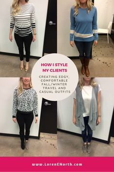 Creating an edgy, comfortable, casual fall/winter style for travel - How I style my clients Winter Style, Autumn Winter Fashion, Fall Winter, Casual Fall, Wardrobes, What To Wear, Style Me, Stylists, Casual Outfits