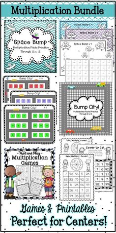 This bundled set of multiplication games and printables is a perfect way to practice and review multiplication facts! Not more instruction, not more drill--just more practice with these fun, print-and-play games. With separate game boards, game sheets, and printables for each factor from the 1s through the 12s, you can easily provide the practice your students need to build skill and confidence with specific multiplication facts. Easy prep for you, maximum engagement for your students!