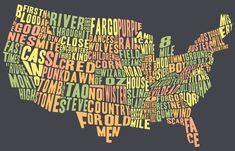 A map of the USA with state shapes filled in by movie titles set in/filmed in that state.