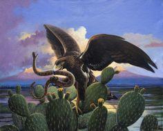 Aguila, nopal, escudo mexicano, pintor mexicano, Pintura al oleo, cosas de Mexico, Armando Ahuatzi