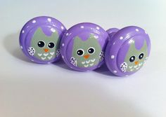 Hand Painted Dresser Knobs with Lavendear base and sage green owl  Find them at The Little Nursery on Etsy