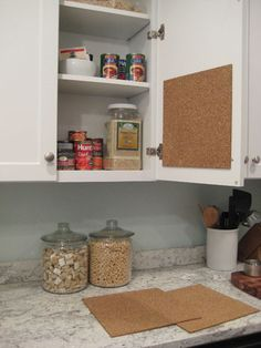 Hang cork board inside cabinet doors for pinning menus, receipts, shopping lists, and more. Great way to use our Round Up From the Heart cork trivets!