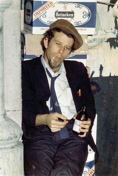 "1343-phipsi:In 1976, the late Timothy White interviewed performers at the Bottom Line about their beer preferences in a piece for Crawdaddy magazine. Photographer Raymond A. Moore recalls:"" Waits was great. He came out to the alley, sat on a crate, and posed as if he were a tad loaded. After ending the show he came back for an encore and said to the audience:' Thank you very much. I wasn't goin' anywhere anyway.' """