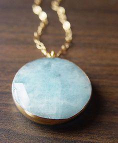 Aquamarine round necklace from                                                   www.friedasophie.etsy.com