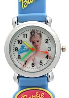 TimerMall Fashion Light Blue Rubber Barbie Pattern Analogue Waterproof Watches. Description: Barbie watches has a barbie pattern and round dial which band is made of rubber.The funny cartoon style watches with its cute styled character. Clear standard numbers and bright colours make this watches appealing and attention grabbing.Therefore this is a good choose for chirldren!.