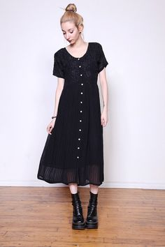90s Sheer Black Striped Dress with Embroidery M