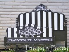 French provincial, Queen/full bed, bedroom, stripes, black & white, vintage, Tracey's Fancy