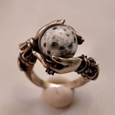 """omniastudios: """" Celestial Lunar Oracle ring with deeply antiqued sterling silver, white topaz accent. www.omniaoddities.com """""""