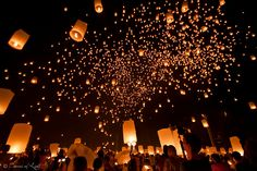 Floating Lanterns, Thailand.  Loy Krathong/Yi Peng festival in Mae Jo, near Chiang Mai, North of Thailand