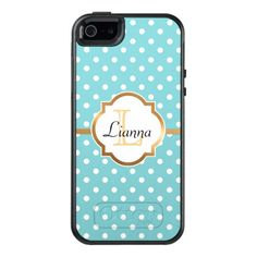 Blue Polka Dots, Faux Gold Foil, Personalized OtterBox iPhone 5/5s/SE Case