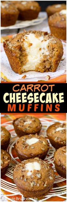 Carrot Cheesecake Muffins - the creamy cheesecake center in these soft spiced carrot muffins makes them taste absolutely amazing. Great recipe to make for breakfast or as an after school snack! #breakfast #muffins #muffinrecipe #carrot #cheesecake #easter #pecans #carrotcake