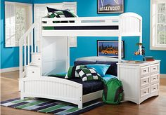 Shop for a Cottage Colors White Twin Full Step Loft Bedroom at Rooms To Go Kids. Find  that will look great in your home and complement the rest of your furniture.