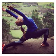 Mountain top yoga - outdoor yoga pose    Fit fashion, active living and yoga leggings