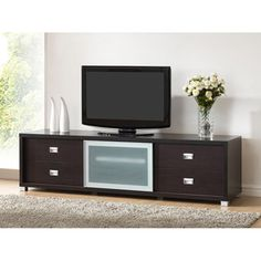 Botticelli Brown Modern TV Stand with Frosted Glass Door | Overstock.com