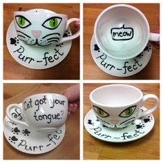 Cat themed ceramic cup & saucer