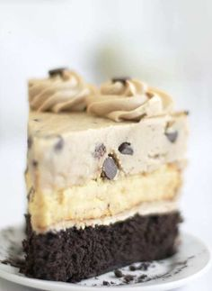 Chocolate chip cookie dough devil's food cake. Making this without the cheesecake layer.
