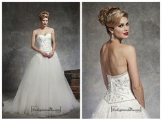 BEAUTIFUL SATIN & TULLE BALL GOWN SWEETHEART NECK DROPPED WAISTLINE WEDDING DRESS