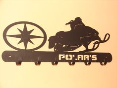 Polaris Snowmobile COAT RACK Robe Hook Metal Cabin by artbyjack. Steve and I both have Artic Cat sleds but this is very cool