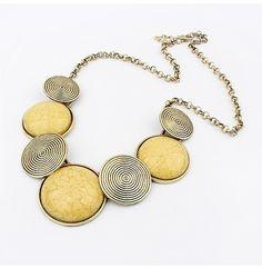 3 Colors Gems Vintage Statement necklace Metal Round necklaces & pendants Woman New H981