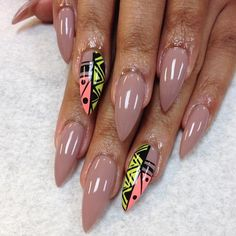 Nude + Tribal Accent Nail Stiletto Nail Design